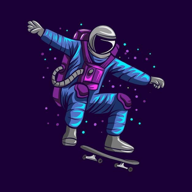L'astronauta salta sullo spazio con l'illustrazione del pattino Vettore Premium