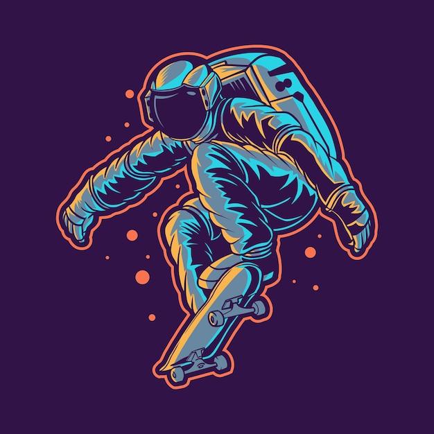 L'astronauta salta con lo skateboard Vettore Premium