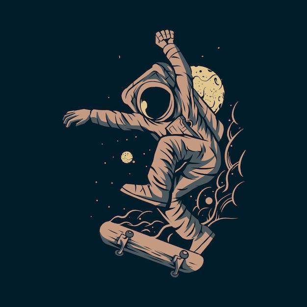 Pattino di salto dell'astronauta su spazio con progettazione dell'illustrazione del fondo della luna Vettore Premium