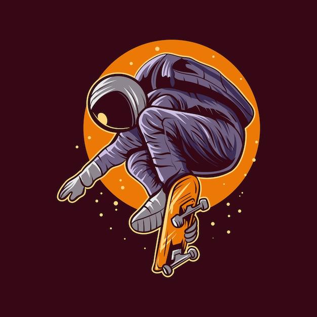 Skateboarding di salto dell'astronauta sulla progettazione dell'illustrazione dello spazio Vettore Premium