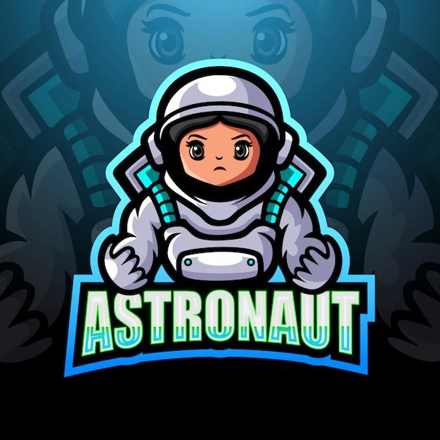 Illustrazione di logo esport mascotte astronauta Vettore Premium