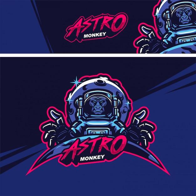 Logo della mascotte premium scimmia astronauta Vettore Premium