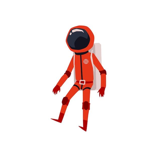 Astronauta in tuta spaziale arancione e personaggio dei cartoni animati casco, illustrazione su sfondo bianco. cosmonauta o astronauta comico personaggio divertente. Vettore Premium