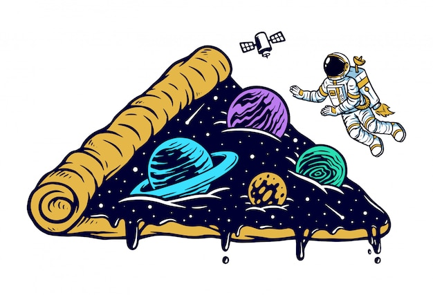 Universo di astronauta e pizza Vettore Premium