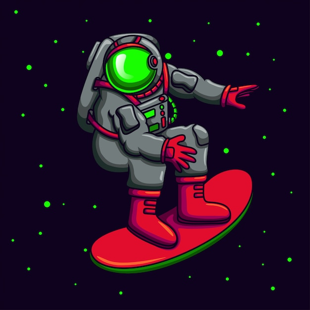 Astronauta che gioca skateboard Vettore Premium