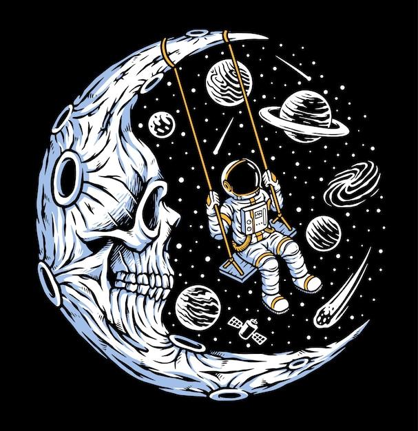 Astronauta che gioca altalena sulla luna del cranio Vettore Premium