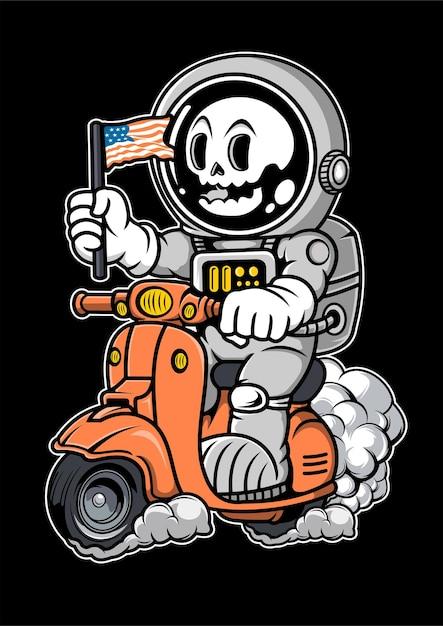 Illustrazione disegnata a mano di scooter di equitazione astronauta Vettore Premium