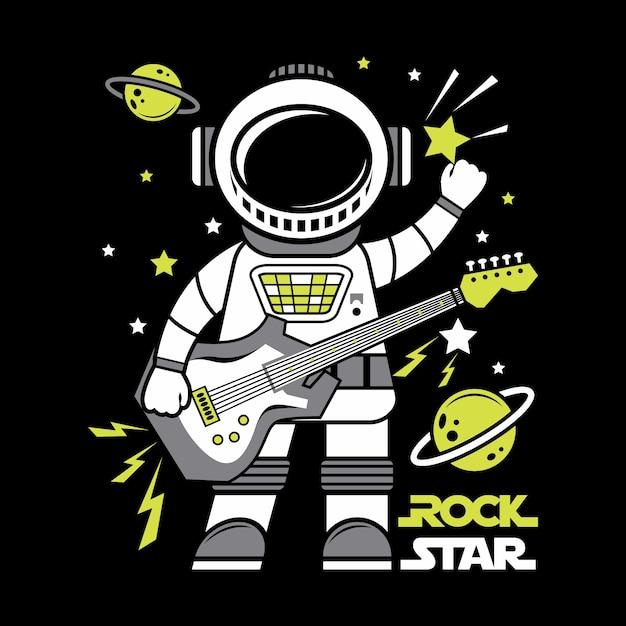 Astronauta rock star fumetto illustrazione illustrazione Vettore Premium
