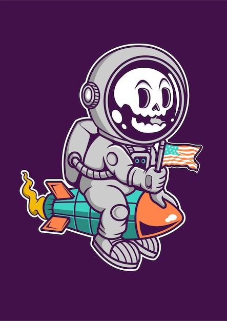 Disegnato a mano del personaggio dei cartoni animati del razzo dell'astronauta Vettore Premium