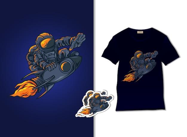 Astronauta sull'illustrazione del razzo con il design della maglietta, disegnato a mano Vettore Premium