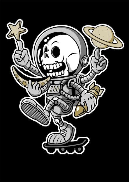 Illustrazione disegnata a mano di skateboard astronauta Vettore Premium