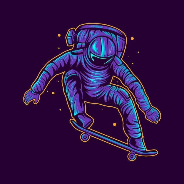Il pattino dell'astronauta salta sull'illustrazione dello spazio Vettore Premium