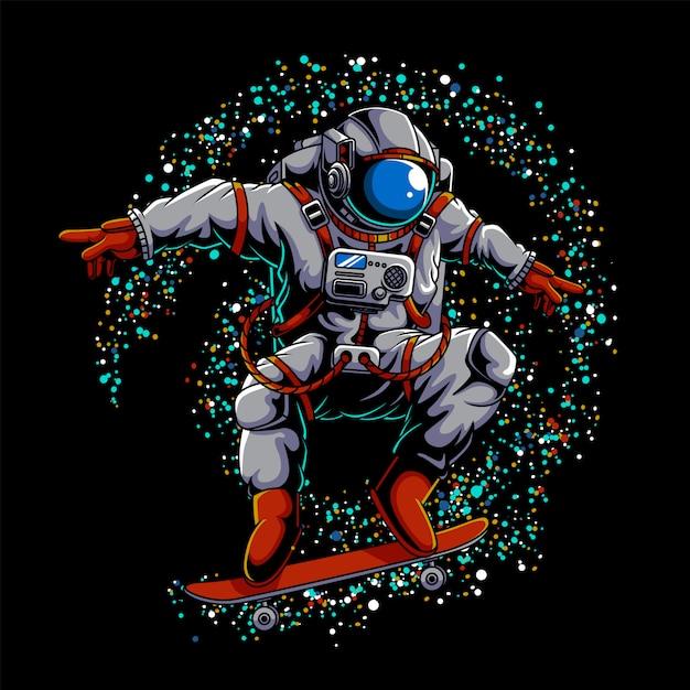 Illustrazione dello spazio esterno dello skateboard dell'astronauta Vettore Premium