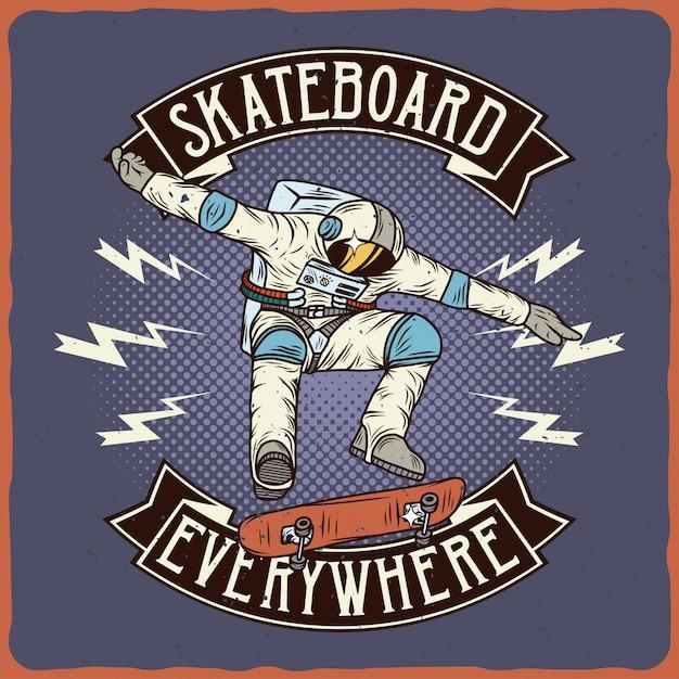 Astronauta sullo skateboard Vettore Premium