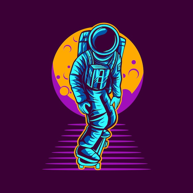 Skateboarding dell'astronauta dal disegno dell'illustrazione della luna Vettore Premium