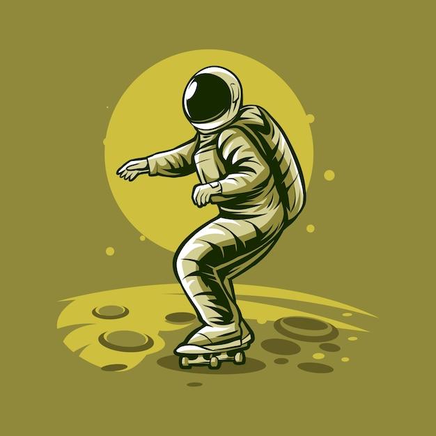 Skateboarding dell'astronauta sull'illustrazione del pianeta Vettore Premium
