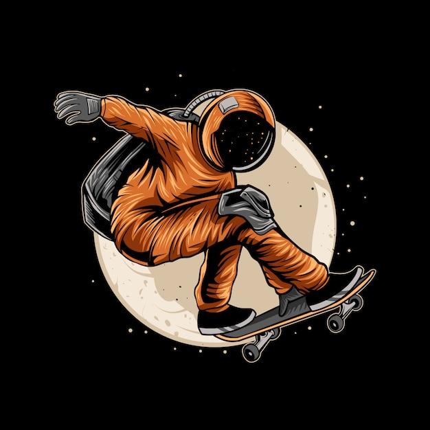 Astronauta skateboard sulla luna spaziale Vettore Premium