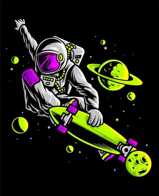 Astronauta skateboard nello spazio Vettore Premium