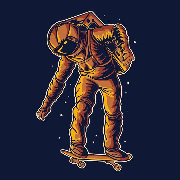 Astronauta skateboard sullo spazio Vettore Premium