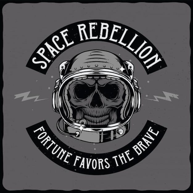 Cranio di astronauta nel casco Vettore Premium