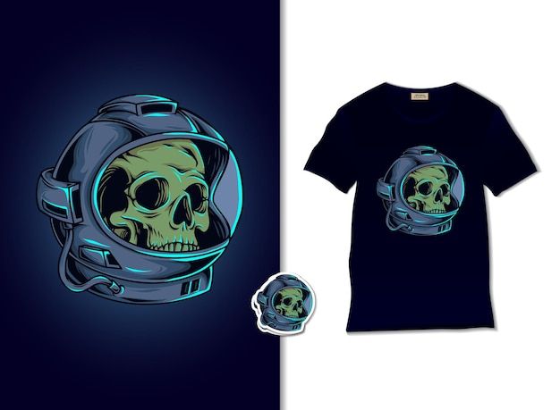 Illustrazione del cranio dell'astronauta con il design della maglietta Vettore Premium