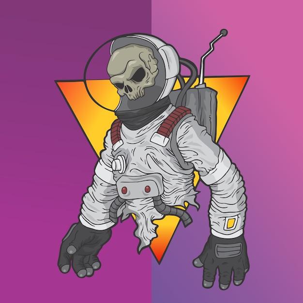 Teschio astronauta Vettore Premium