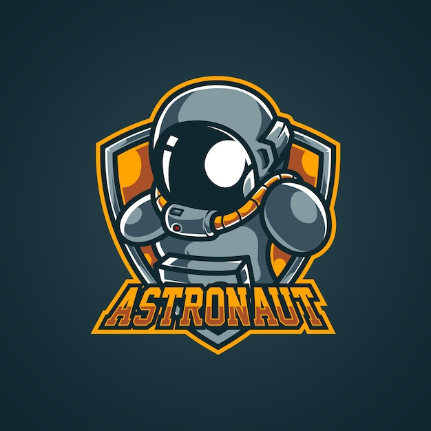 Logo della mascotte di astronauta spaziale esport Vettore Premium