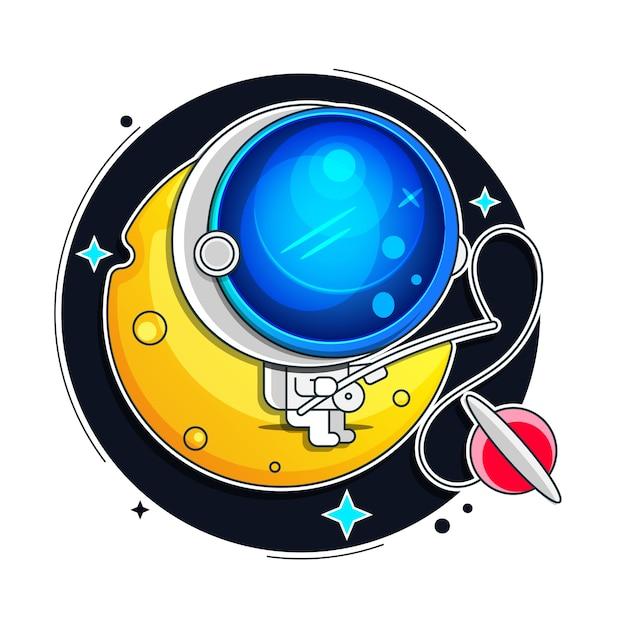 Astronauta, tuta spaziale isolata su sfondo nero Vettore Premium