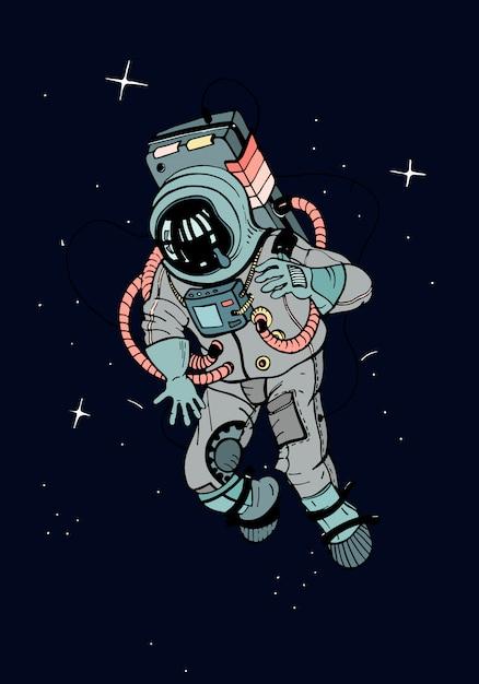 Astronauta in tuta spaziale. cosmonauta nello spazio sullo sfondo scuro delle stelle. illustrazione colorata. Vettore Premium