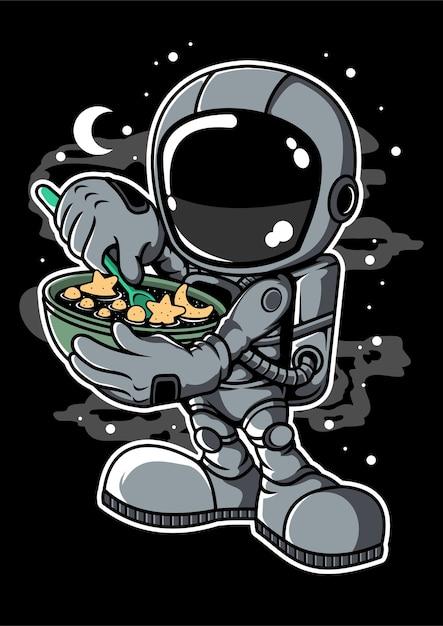 Personaggio dei cartoni animati di astronauta star flakes Vettore Premium