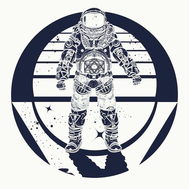 Tatuaggio di astronauta Vettore Premium