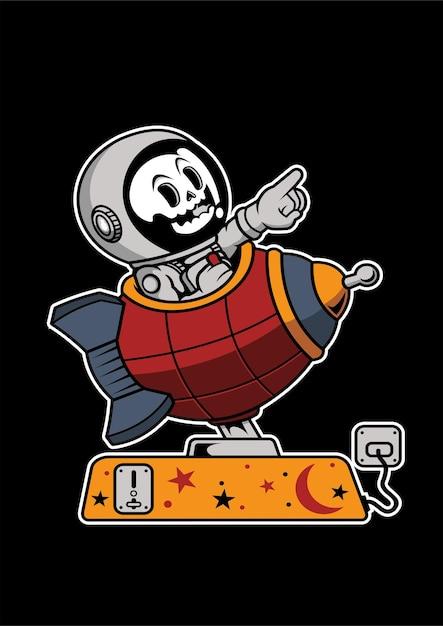Illustrazione disegnata a mano di astronauta toy rocket Vettore Premium