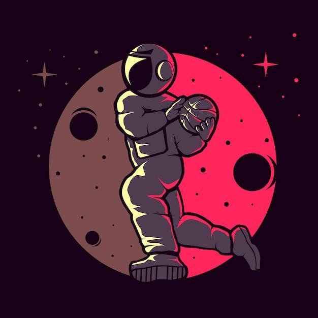 Astronauti che giocano a basket divertente Vettore Premium