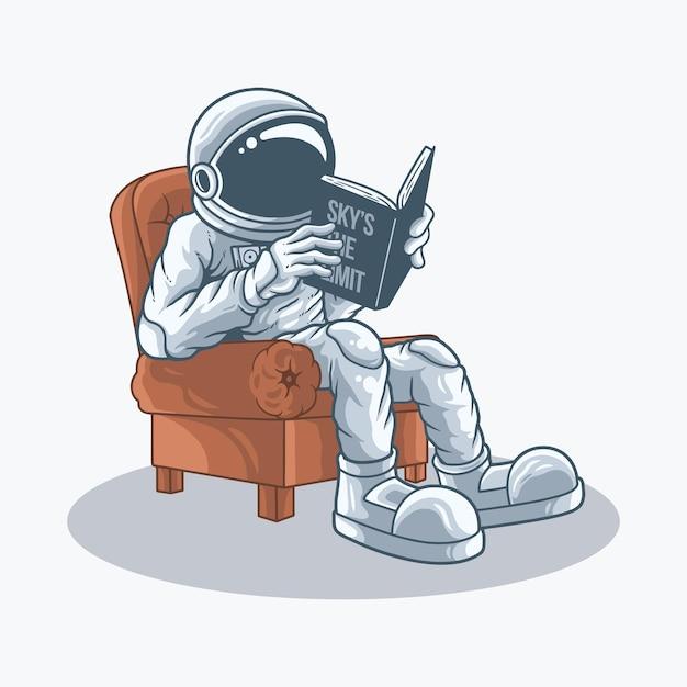 Gli astronauti si siedono sulle sedie leggendo un libro Vettore Premium