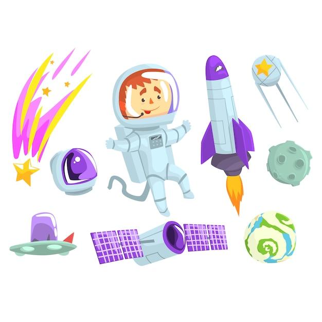 Gli astronauti nello spazio, impostato per la progettazione di etichette. Vettore Premium