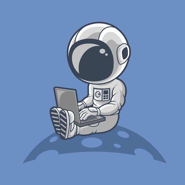 Gli astronauti lavorano sul laptop Vettore Premium