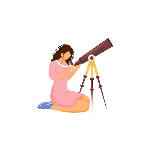 Astronomo con carattere senza volto di colore design piatto telescopio Vettore Premium