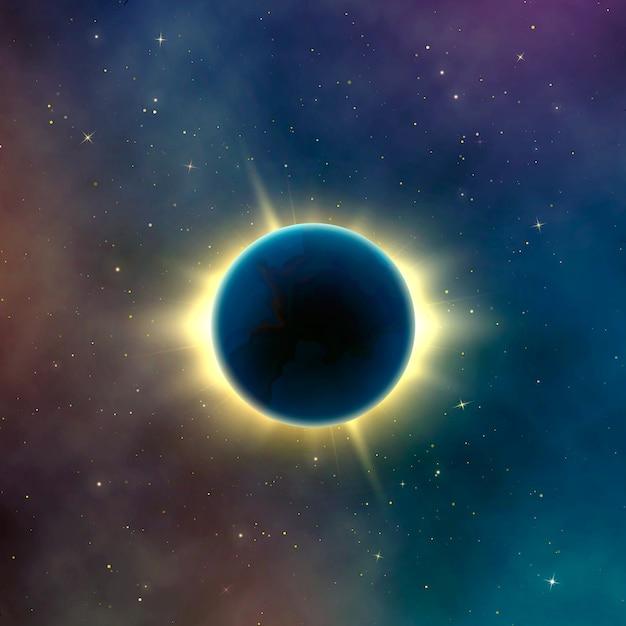 Eclissi solare di effetto di astronomia. sfondo astratto galassia stellata. illustrazione Vettore Premium
