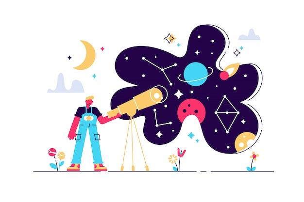 Illustrazione di astronomia. concetto di persona di studio di ricerca spazio piatto minuscolo. esplora le stelle e la conoscenza della galassia con il telescopio. oroscopo educazione zodiacale con metodi astrologici e scoperta scientifica Vettore Premium