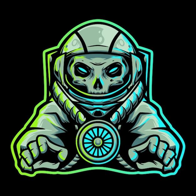 Logo della mascotte di astronot skull space esport Vettore Premium