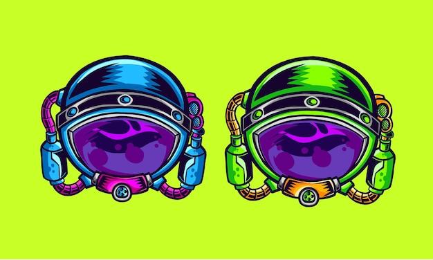 Illustrazione della testa di astronout con versione a due colori Vettore Premium