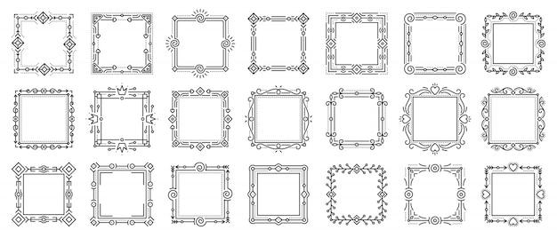Set di cornici ornamentali vintage ative, cornici di testo per certificato, libro di menu, carta di matrimonio. Vettore Premium