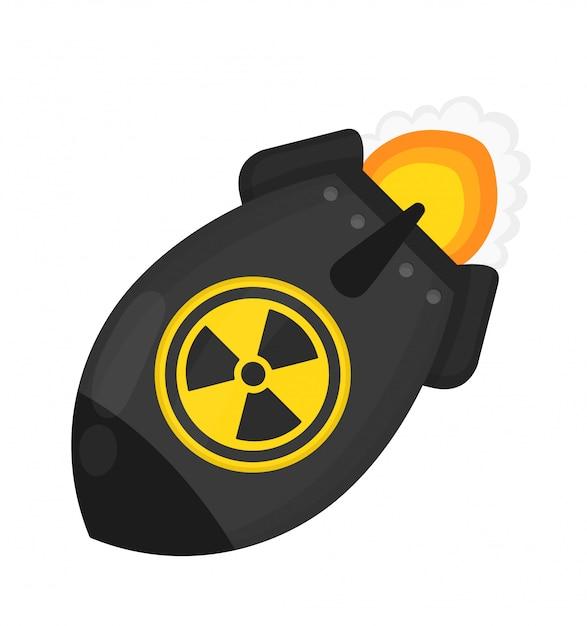 Bomba atomica. concetto di guerra nucleare. progettazione piana dell'icona dell'illustrazione del personaggio dei cartoni animati. Vettore Premium