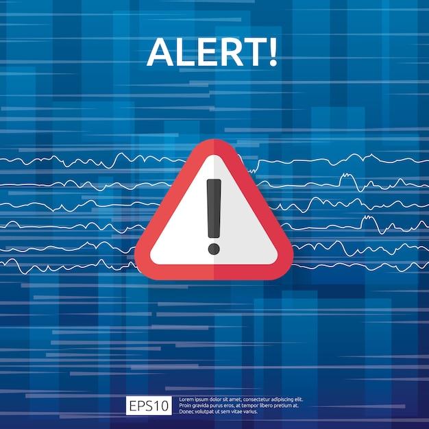 Attenzione avviso attaccante segnale di avvertimento con punto esclamativo. attenzione all'allerta del simbolo di pericolo di internet. icona linea scudo per vpn. Vettore Premium