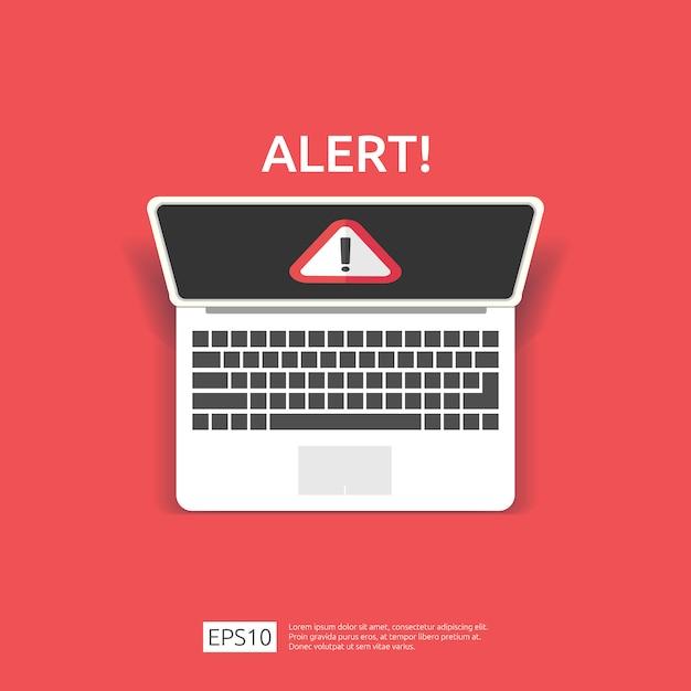Attenzione avviso aggressore segnale di avvertimento con punto esclamativo sullo schermo del monitor del computer. fare attenzione all'icona simbolo di pericolo di internet. Vettore Premium