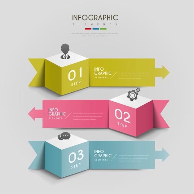 Attraente design infografico con cubi 3d ed elementi frecce Vettore Premium