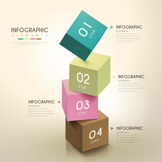 Attraente design infografico con elementi cubi 3d Vettore Premium