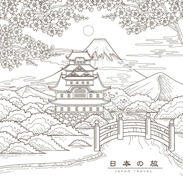 Attraente poster di viaggio in giappone con sakura japan travel in parole giapponesi Vettore Premium