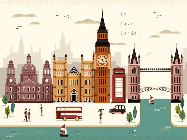 Illustrazione attraente di paesaggio di viaggio di londra in stile piano Vettore Premium