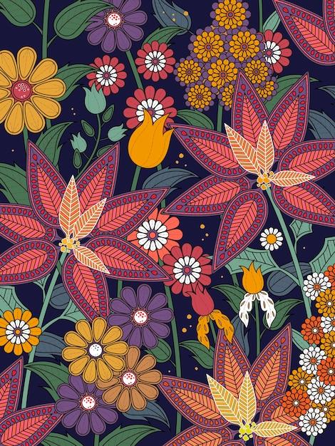 Attraente pagina da colorare floreale tropicale in linea squisita Vettore Premium